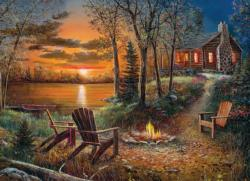 Fireside Cottage / Cabin Jigsaw Puzzle
