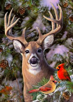 One Deer Two Cardinals Birds Jigsaw Puzzle