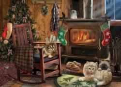 Kittens by the Stove Domestic Scene Jigsaw Puzzle
