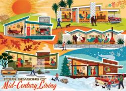 Four Seasons of Mid-Century Living Domestic Scene Jigsaw Puzzle