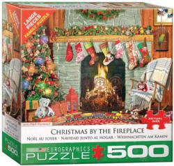 Christmas by the Fireplace Domestic Scene Jigsaw Puzzle