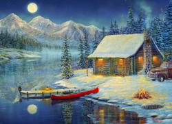 Cozy Christmas Cottage/Cabin Jigsaw Puzzle
