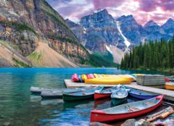Canoes on the Lake Mountains Jigsaw Puzzle