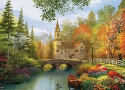Autumn Church Lakes / Rivers / Streams Jigsaw Puzzle