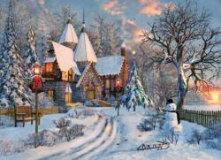 Christmas Cottage Sunrise/Sunset Jigsaw Puzzle