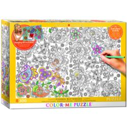 Hidden Butterflies (Color-Me Puzzle) Flowers Coloring Puzzle
