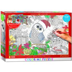 Holly Jolly Owl Christmas Coloring Puzzle