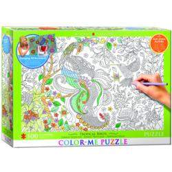 Tropical Birds (Color-Me Puzzle) Flowers Coloring Puzzle