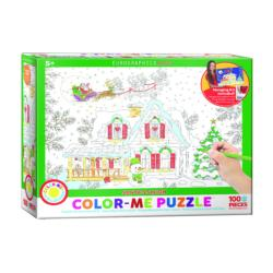 Santa's Sleigh Christmas Coloring Puzzle