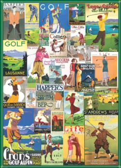 Golf Around the World (Vintage Collage) Collage Jigsaw Puzzle