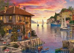 Mediterranean Harbor Seascape / Coastal Living Jigsaw Puzzle