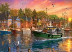 Harbor Sunset Sunrise/Sunset Jigsaw Puzzle