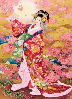 Syungetsu - Pink Cherry Blossoms Flowers Jigsaw Puzzle