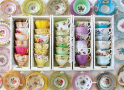 Colorful Tea Cups Pattern / Assortment Jigsaw Puzzle