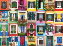 Mediterranean Windows Pattern / Assortment Jigsaw Puzzle