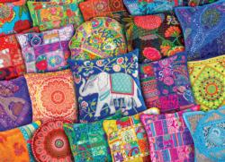 Indian Pillows Elephants Jigsaw Puzzle