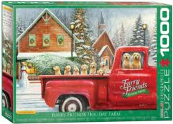 Furry Friends Holiday Farm Christmas Jigsaw Puzzle