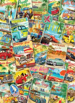 Vintage Travel Collage Collage Jigsaw Puzzle