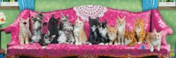 Kitty Cat Couch Cats Panoramic Puzzle