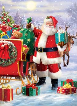 Santa with Sled Christmas Jigsaw Puzzle