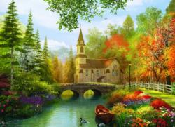 Autumn Church (Small Box) Lakes / Rivers / Streams Jigsaw Puzzle