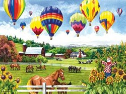 Balloons over Fields Balloons Jigsaw Puzzle
