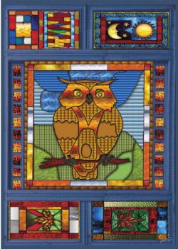 Stained Glass Owl Birds Jigsaw Puzzle