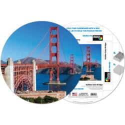 Golden Gate Bridge Landmarks Round Jigsaw Puzzle