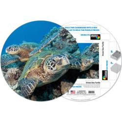 Green Sea Turtle Reptiles and Amphibians Round Jigsaw Puzzle