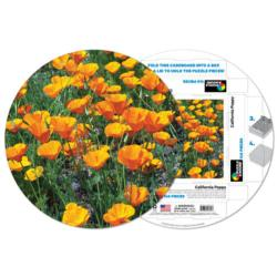 California Poppy Flowers Round Jigsaw Puzzle