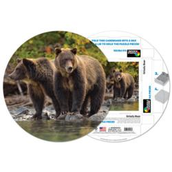 Grizzly Bear Bears Round Jigsaw Puzzle