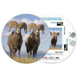 Bighorn Sheep Wildlife Round Jigsaw Puzzle