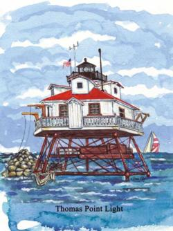 Thomas Point Watercolor Lighthouses Jigsaw Puzzle