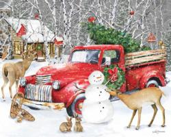 A Country Christmas Cottage / Cabin Jigsaw Puzzle