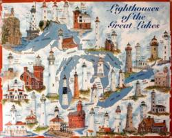 Great Lakes Lights - Scratch and Dent Lighthouses Jigsaw Puzzle