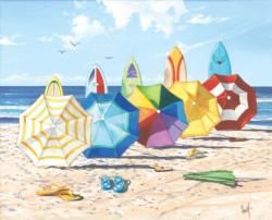 Brellas and Boards Beach Jigsaw Puzzle