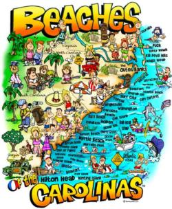Beaches of the Carolinas Maps / Geography Jigsaw Puzzle