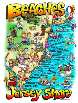 Beaches of Jersey Shore Maps / Geography Jigsaw Puzzle