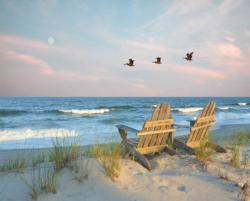 Coastal Moonrise Beach Jigsaw Puzzle