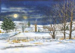 Full Moon Rising Winter Jigsaw Puzzle