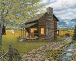 A Smoky Mountain Morning Cottage / Cabin Jigsaw Puzzle