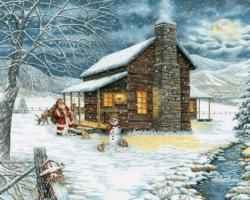 A Smoky Mountain Christmas Cottage / Cabin Jigsaw Puzzle