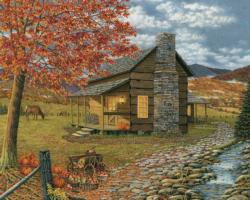 A Smoky Mountain Harvest Cottage / Cabin Jigsaw Puzzle