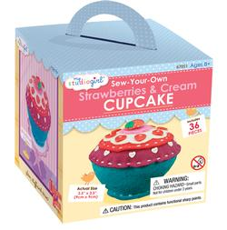 Felt Cupcake: Strawberries and Cream Food and Drink