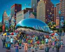 Chicago Bean Folk Art Jigsaw Puzzle
