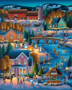 Over the River Folk Art Jigsaw Puzzle