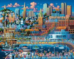 San Francisco Pier Seascape / Coastal Living Jigsaw Puzzle