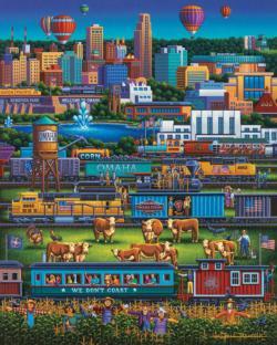 Omaha Trains Americana & Folk Art Jigsaw Puzzle