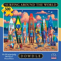 Surfing Around the World Americana & Folk Art Jigsaw Puzzle