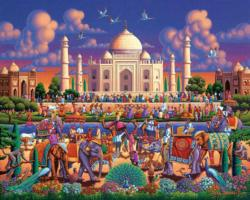Taj Mahal Elephants Jigsaw Puzzle
